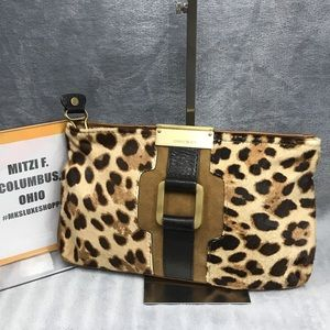 JIMMY CHOO LEATHER LEOPARD CLUTCH BAG EUC